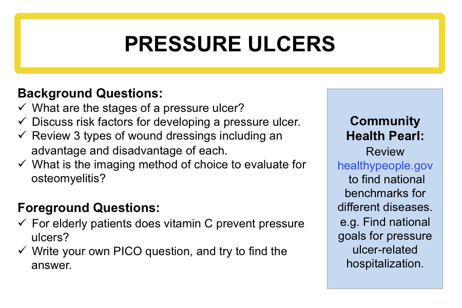 evidence based information on pressure ulcers This course provides the most recent evidence based information on risk factors, diagnosis, staging and management of pressure ulcers, also known as bedsores.