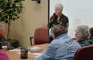 Melissa Stiles, MD, speaks to seniors at the Belleville Clinic as part of a group visit on falls prevention.