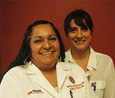 The DFM's Patricia Tellez-Giron, MD (left), and UW Hospital and Clinics' Shiva Bidar co-chair the Latino Health Council, which recently celebrated its 20th anniversary. (Photo: Jonathan Gramling)