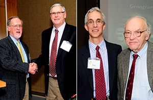 Photo on left: John Beasley, MD (left) congratulates James Damos, MD. Photo on right: Paul Hunter, MD, (left) and Marc Hansen, MD.