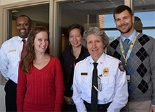 Partners in the CARE project, from left: MFD Division Chief Johnny Winston, Jr.; Dryden Terrace Apartments Service Coordinator Kelsey Eyers; DFMCH faculty Jennifer Edgoose, MD, MPH; MFD Assistant Division Chief Laura Laurenzi, MFD; DFMCH resident Christopher Danford, MD.