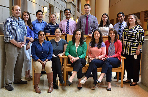 The new Madison residents. Back row, from left: Lucas Kuehn, MD; Anna Chase, MD; Yoshito Kosai, MD; Andrew Maiers, DO; Mukund Premkumar, MD; Matthew Brown, MD; Lauren Walsh, MD, MPH; Milap Dubal, MD; Ellen Gordon, MD. Front row, from left: Divneet Kaur, MD; Lydia Chen, MD; Allison Couture, DO; Tina Ozbeki, MD; Katherine McCreary, MD