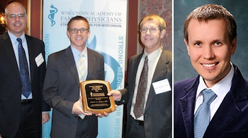 DFM grad Aaron Dunn, MD, (left photo, center) and third-year resident Konstantin Mikheyev, DO, (right) received WAFP awards this year.