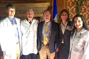 DFMCH participants in Doctor Day 2016, from left: Madison residency program graduate Aistis Tumas, MD; faculty David Deci, MD; faculty John Beasley, MD; resident Jennifer Perkins, MD; resident Allison Couture, DO.