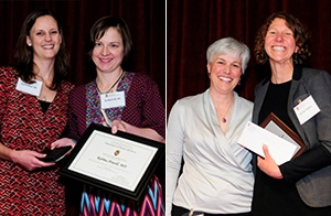 McGovern-Tracy Scholarship winner Karina Atwell, MD, with Ildi Martonffy, MD; Melissa Stiles, MD, with Brillman Leadership and Advocacy Scholarship winner Jennifer Perkins, MD.