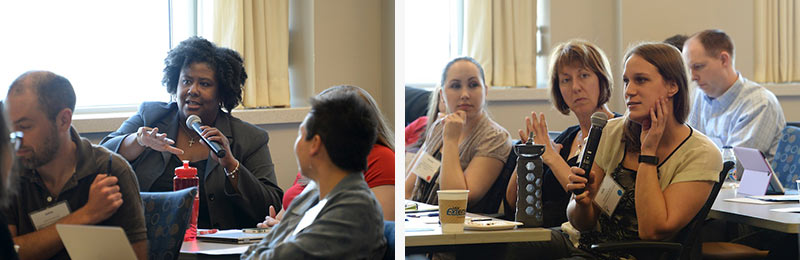 Attendees ask questions of the panelists.