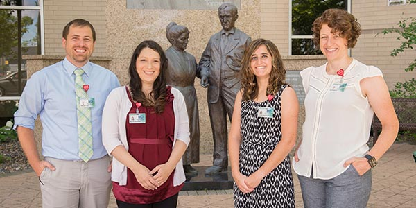 The new La Crosse residents, from left: Wesley Fox, MD; Katya Alcaraz, MD; Victoria Bodendorfer, MD; Elizabeth White, MD
