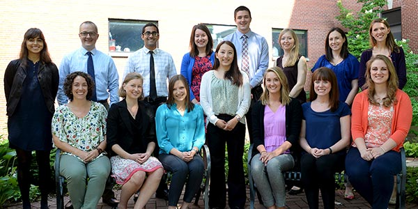 The new Madison residents. Front row, from left: Angela Marchant, DO; Sheila Kredit, MD; Paula Goldman, MD; Xia Vang, MD; Ashley Taliaferro, DO; Lindsey Engel, MD; Emily Metzger, MD. Back row, from left: Angelie Singh, MD; Ben Traun, MD; Kartik Sidhar, MD; KJ Hansmann, MD; Alex Milsap, MD; Petra Kelsey, MD; Kate Ledford, DO; Caitlin Regner, MD