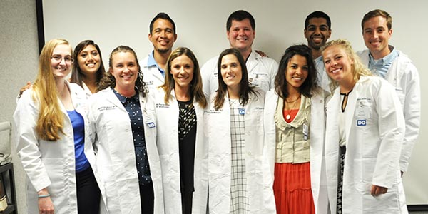 The new Milwaukee residents. Back row, from left: Rinal Patel, MD; Alonzo Jalan, MD; Matthew Gill, DO; Abdulrehman Siddiqui, MD; Joseph Vogelgesang, DO. Front row, from left: Sarah Ward, MD; Christina Quale, MD; Alison Perry, DO; Mary St. Claire, DO; Natalia Arizmendez, MD; Kayla Parsons, DO.
