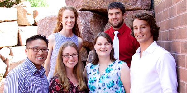 The new Wausau residents. Back row, from left: Caitlin Harris, DO, and Casey Totten, DO. Front row, from left: Tswjfwm Vang, DO; Elizabeth Schuebel, MD; Amanda Schoenfuss, DO; and Dillon Myers, MD.