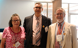 Former ALSO program manager Director Diana Winslow, RN, BSN, with ALSO founders James Damos, MD, and John Beasley, MD at the reception