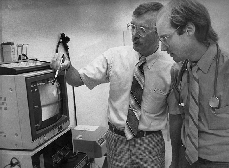 Dr. O'Connell (on right) with Wausau program director Robert Cadwell, MD, in 1986.