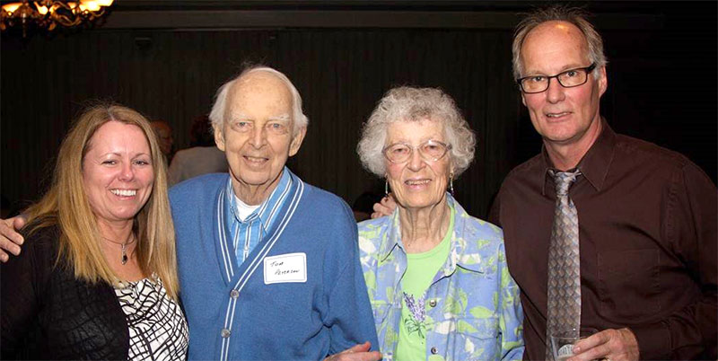 From left: Diane O'Connell, Wausau program founder Tom Peterson, MD, Lucy Peterson and Dr. O'Connell at the 2014 Wausau residency program's graduation ceremony, during which Dr. Peterson received the Legend in Teaching Award.
