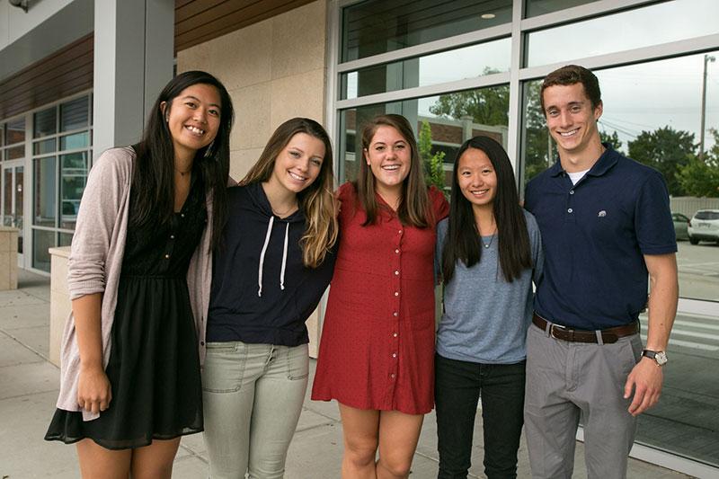 Above, from left: student navigators Kara Chung, Johanna Balas, Jessie Miller, Allie Hung and Patrick O'Grady