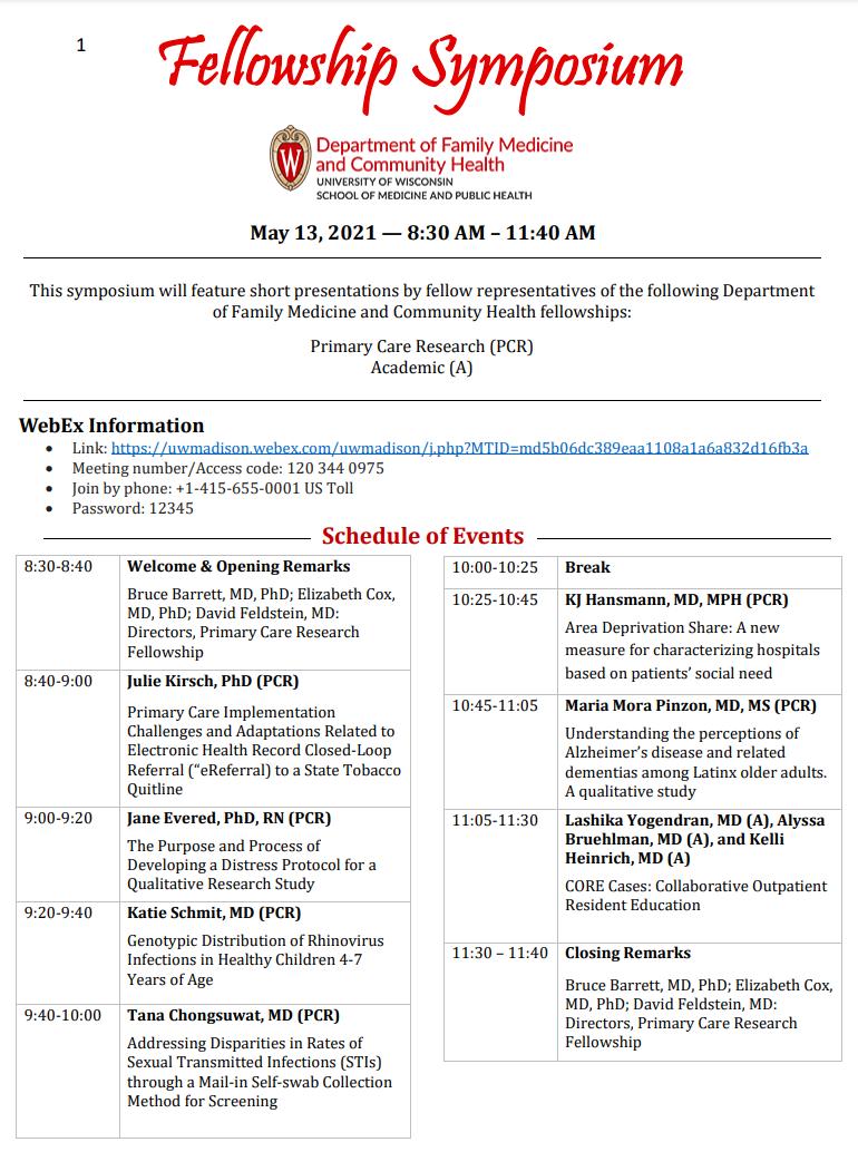 2021 Fellowship Symposium