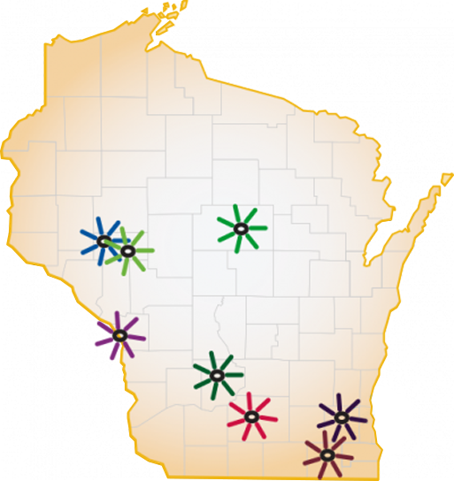 Osteopathic Map of WI locations